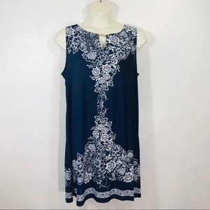 Haani Navy & White Dress Size 2X Comfortable